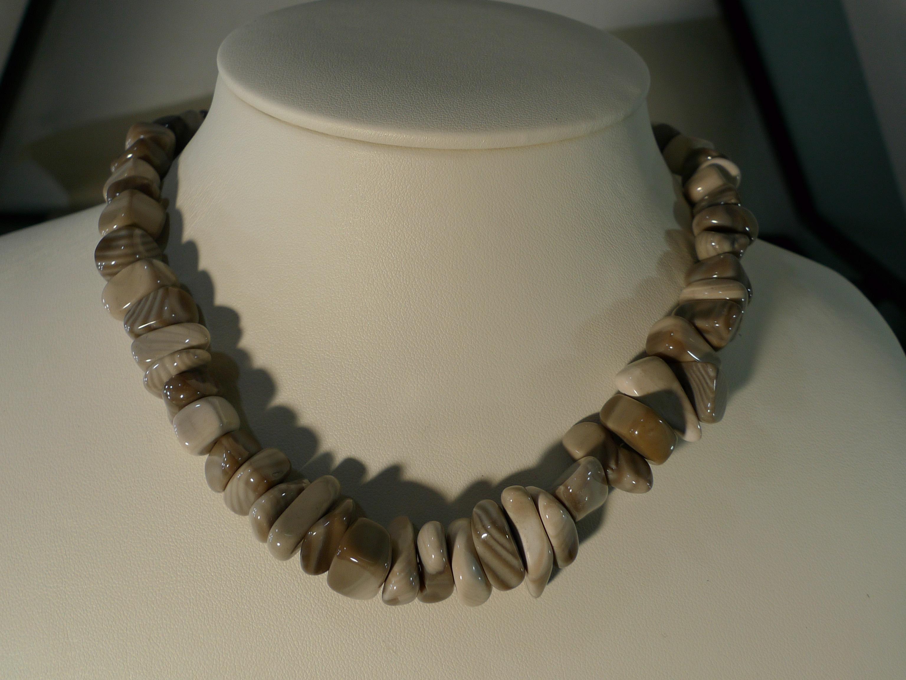 Naszyjnik krzemień pasiasty biżuteria Kudowa Zdrój